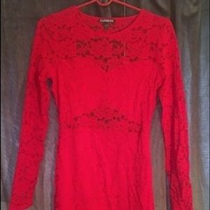 EXPRESS RED FLORAL LACE LONG SLEEVE MINI DRESS PS